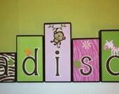 Personalized Wood Blocks - M2M Carter's Jungle Jill Bedding Set  - Jungle / Monkey / Safari Baby Name Blocks - Baby Letter Blocks