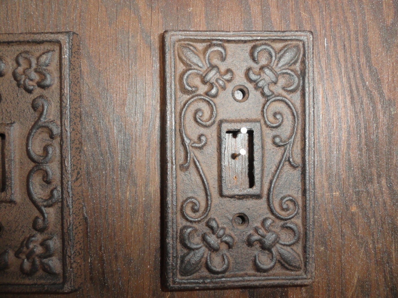 Set Of 5 Cast Iron Single Light Switch Plate Shabby Cottage