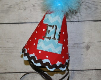 Aqua, Red and Brown First Birthday hat, Personalized Birthday Hat, Red Hat, Cake smash birthday hat