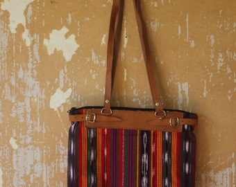 vintage.  70s Guatamelan Woven Fabric and Leather Shoulder Bag