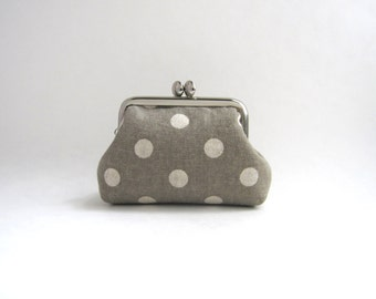 Gray Polka Dots Coin Purse - Mini Frame Jewelry Case with Ring Pillow
