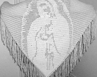 Shawl, Wrap, Prayer Shawl, Crochet Prayer Shawl, Prayer Shawl Wrap, Crochet Wrap, Women's Accessories, Crochet Shawl, Virgin Mother Shawl