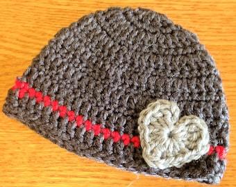 Valentine Hat, Valentine's Day Baby Hat, Valentine's Day Beanie, Baby Valentine Hat, Gray, Red, Valentine's Day Hat, Baby Valentine Hat, Boy