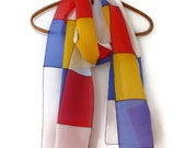 Mondrian Style Hand Painted Silk Scarf by Julie Riisnaes