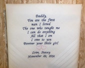 Father of the Bride Handkerchief-Embroidered Wedding Hankerchief Personalized Hankie Custom Hanky