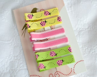 Set of 6 Non Slip Hair Clips - No Slip Barrettes -Ladybugs and Stripes