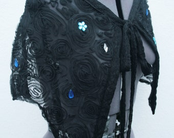 UPCYCLED Blues and silver jewel beads and black lace Capelet eveningwear sparkle o.o.a.k designed and handmade in the UK