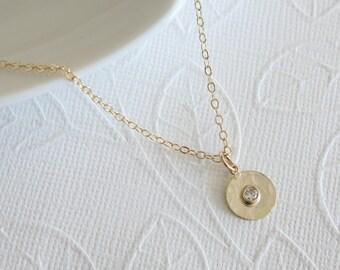 Tiny Gold Dot Necklace - Simple Necklace - Celebrity Inspired - Everyday Necklace - Dainty Necklace - Everyday Jewelry - Disc Necklace
