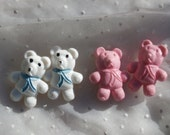 4 Cute Vintage Teddy Bear Buttons, Pink and White Plastic, 1980s Craft or Sewing Supply
