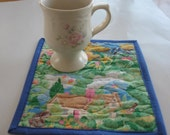Quilted Spring Scene Mug Rugs or Personal Placemats