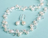 Wedding Jewelry SET. Pearl Wedding Jewellery SET, Freshwater Pearl Necklace and Earrings SET