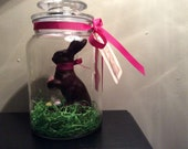Easter Bunny Glass Apothecary Jar with faux chocolate Easter Bunny
