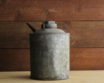 industrial decor - vintage oil/gas can - metal - decorative metal can