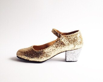 Biba Duo Gold and Silver Glitter Mary Janes heels (Handmade to order)