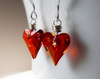 Red Heart Earrings, Swarovski Crystal, Dainty Heart Earrings, Wild Hearts, Heart Dangle Earrings, Sterling Silver, Wire Wrapped