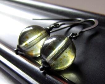 Olive Green Glass Earrings, Marble Earrings, Czech Glass, Oxidized Sterling Silver, Simple, Minimalist, Dangle Earrings