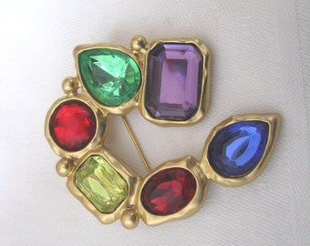 Bold gold tone geometric vintage pin brooch with colorful rhinestones