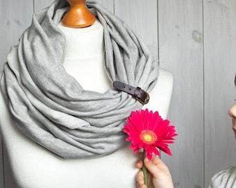 GREY infinity scarf with leather cuff, infinity scarves ZOJANKA, mediumweight jersey infinity scarf, tube scarves, fashion scarf with cuff