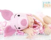 PATTERN Pinky Piggy  Hat Crochet PDF Pattern