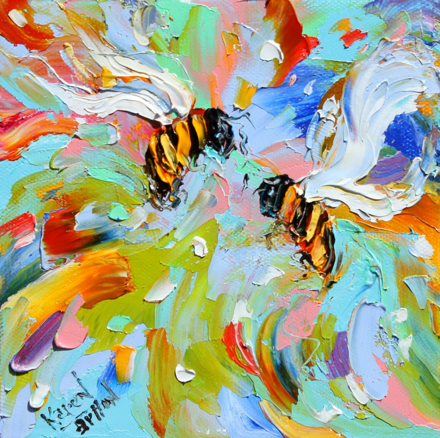 Fine Art Print Bees Made From Image Of Oil Painting By Karen