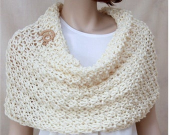 Knit Wool Scarf,  Oversized  Infinity Cowl,  Womens  Winter Cowl,    Hooded Scarf,   Cream Wrap, Fashion Cowl, Gift