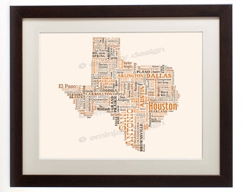 """Texas State Framed Type Map Art Print - 16"""" x 20"""" // Additional Sizes Available"""