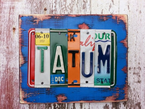 Items similar to 5 letter wedding name license plate sign for Custom license plate letters