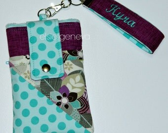 Purple Aqua Phone Case Phone Case with Wristlet Optional Shoulder Strap  iPhone 4 5 6 Plus Smartphone Android Samsung Galaxy Note LG Xperia