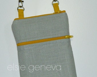 Solid Grey or Olive Sage or Wine Canvas / Linen and Mustard Yellow Phone Case Shoulder Strap Cross Body iPhone 4 5 6 Plus withOtter Box Case