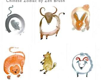 Chinese Zodiac Animals Set, Original Zen Paintings-All 12 Animals for Chinese Zodiac, zen decor, childs room art, yoga art, Feng shui, tao