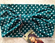 Green and White Polka Dot Turban WRAPsody Headwrap Headband Chemo Wrap Dred Wrap Yoga Headband Running Headwra  St. Pattricks Day