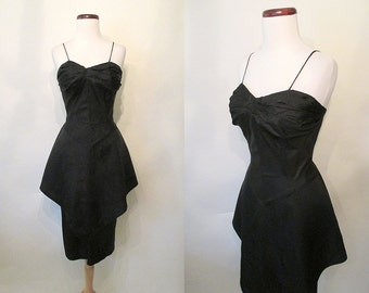 """CLEARANCE Stunning 1950's Designer Black Satin Cocktail Party Dress with Long Peplum by """"Paula Lynn"""" Rockabilly VLV Pinup Girl Size-Small"""