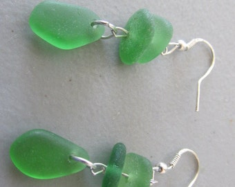 Earrings Sea Glass, Green Earrings, Beach Glass Dangle Earrings, Sea Glass Jewelry, Glass Drop Earrings, Gift for Her, Gift for Women