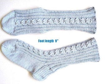 """Socks cotton 100%  hand knit. Non elastic diabet friendly socks . Foot  9"""" . Cabled design and reinforced heels. Ready to ship."""