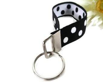 Wristlet Key Fob Black & White Stretchy Bracelet Style Size Medium Key Fob Holder Organizer Classic White and BLack Key Holder