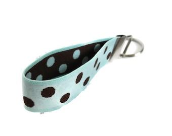 Wristlet Key Fob Aqua and Brown Size Medium Stretchy Bracelet Style Keyholder  Light Blue with Brown Dots Stretch Key Holder