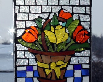 Red and yellow tulips in Basket with yellow ribbon. stained glass mosaic. ,.waLL Art Panel, window panel, suncatcher
