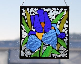 Iris , Stained Glass Mosaic,  blue Stained Glass SunCatcher or wall Decoration