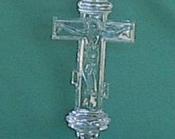 Hand made Russian crystal candlestick  Christ on the Cross