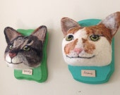 Beans and Sparky - needle felted cat portraits