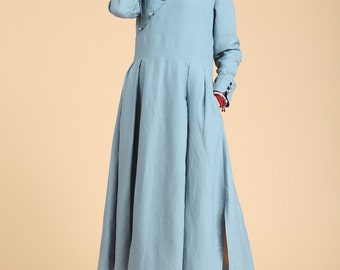 Folk Style Dress Loose Fitting Sundress Long Sleeve Dress in Blue(more colour and size choice)