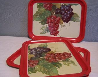 Three Metal Trays, Vivid Red, Grapes, Wine, Tuscan, Set of 3, Mid Century, Serving Trays