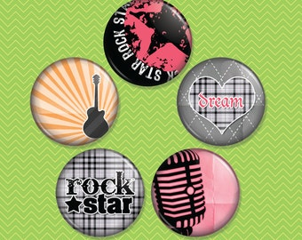 Girl Rock 1 inch Magnet Set of 5 (M0041)