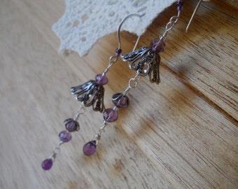 Amethyst Rain Drop Flower Earrings