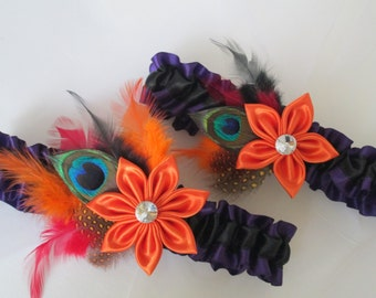 HALLOWEEN Wedding Garters, Orange Garter, Purple Garters, Black Garters, Nightmare Before Christmas Garter, Peacock Garters, Day of the Dead