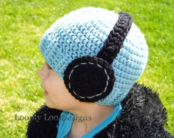 Headphone Hat, Crochet Hat, Photo Prop, Baby Boy, Handmade, Headphone - Sizes 12 MONTHS AND UP - more color options