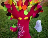 Halloween Spooky Plush Tree with Spider Web and Spider - Pink Plush tree with Neon Leaves - Spooky Eyes Tree - Kids Halloween Plush Toy