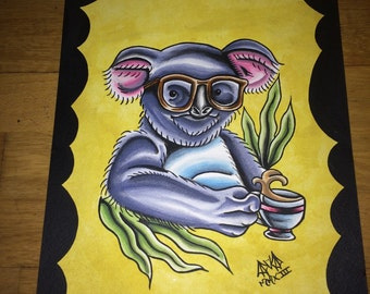 Hipster Koala Bear Original Painting