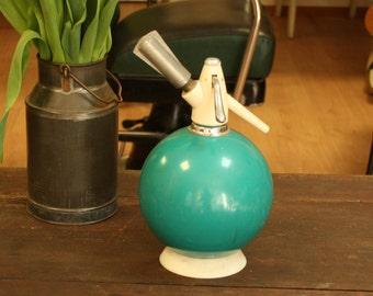 Vintage turquoise soda siphon bottle Soviet