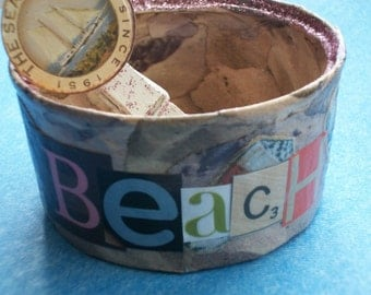 Decoupaged Beach Bum Tin with Decoupaged Clothespin Clip Repurposed Upcycled